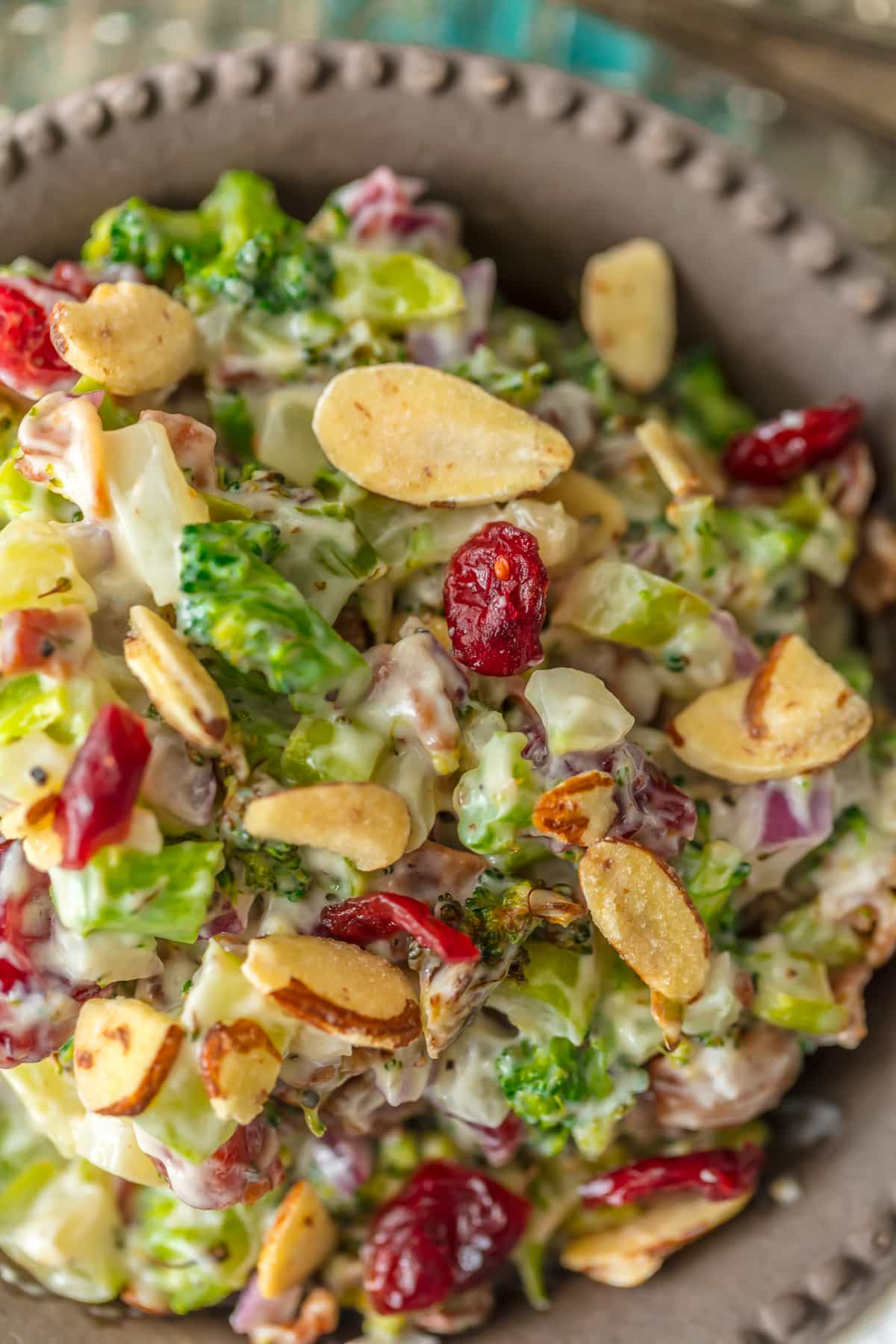 Broccoli Cranberry Salad with almonds and bacon