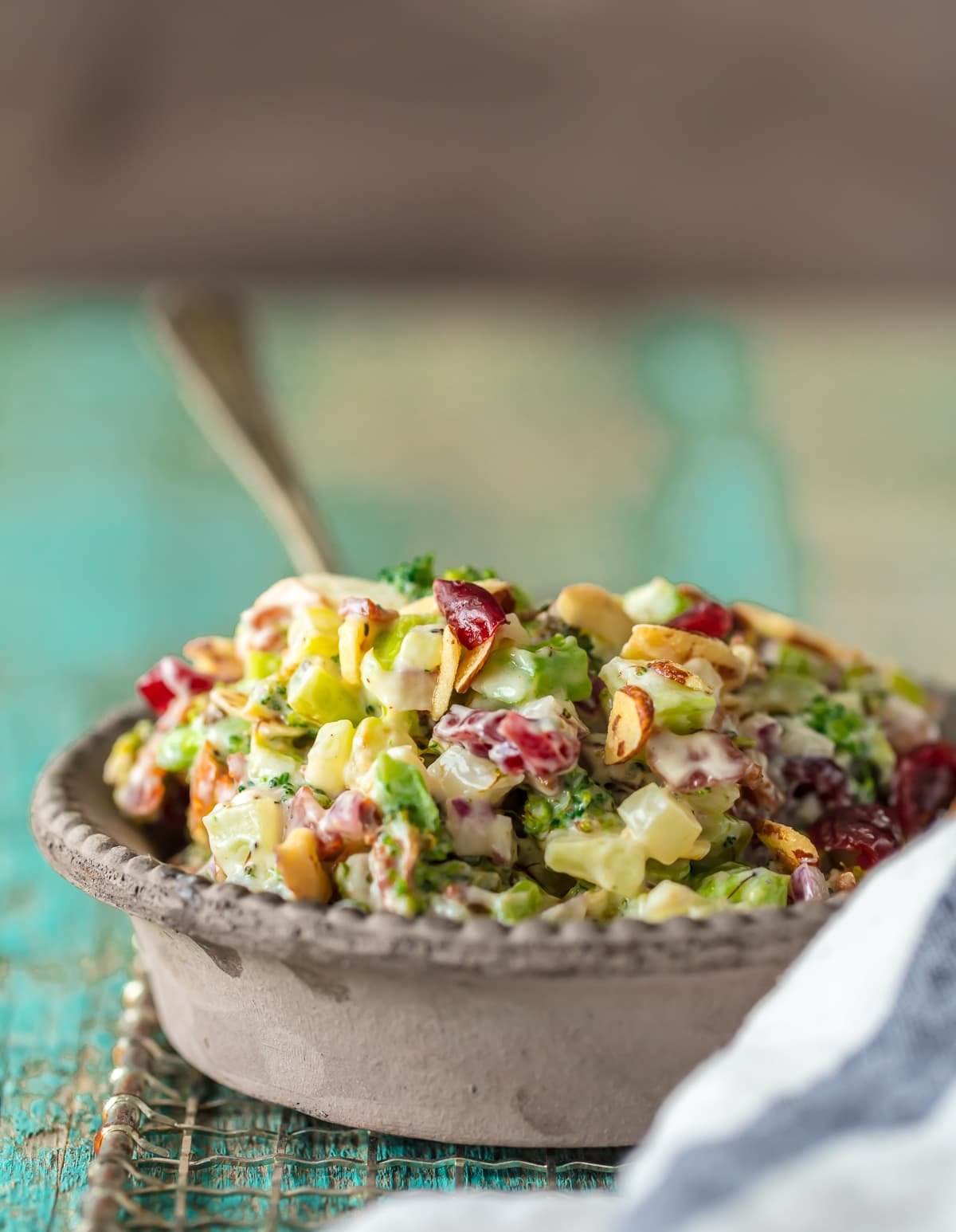 Cranberry Almond Broccoli Salad recipe in a bowl