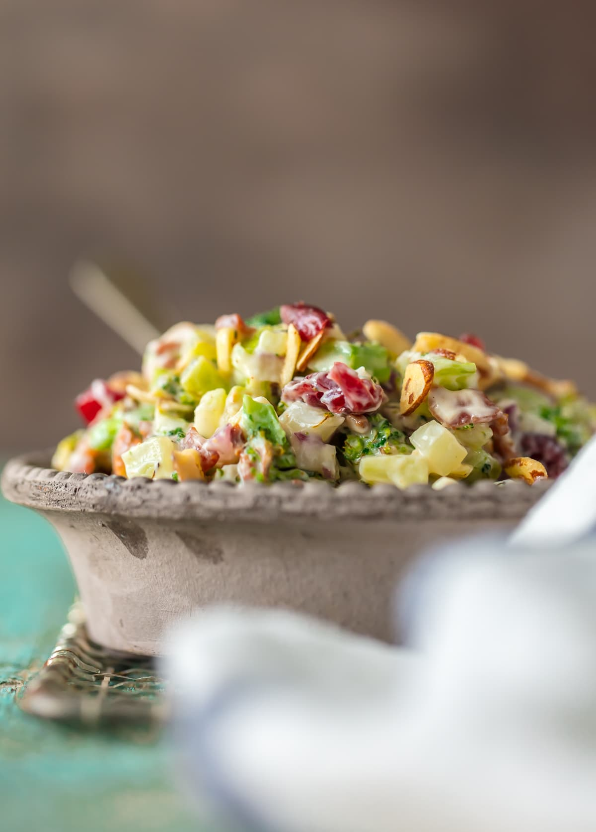 Cranberry Almond Charred Broccoli Salad with Bacon