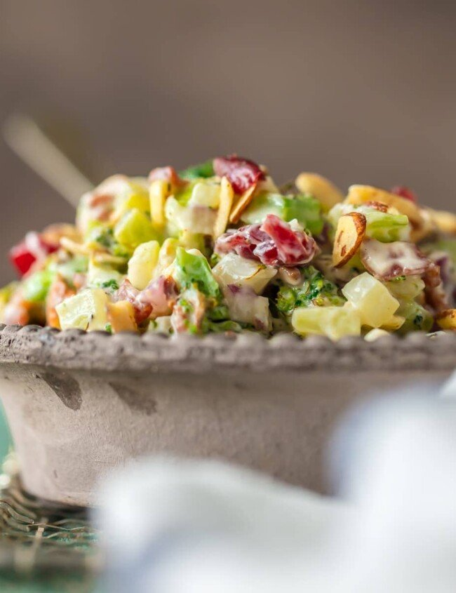 This Broccoli Salad recipe is a twist on a holiday classic! Almond Broccoli Cranberry Salad has so much flavor because it's filled with best ingredients. This delicious charred broccoli salad with bacon is sure to be your favorite Thanksgiving or Christmas side dish!