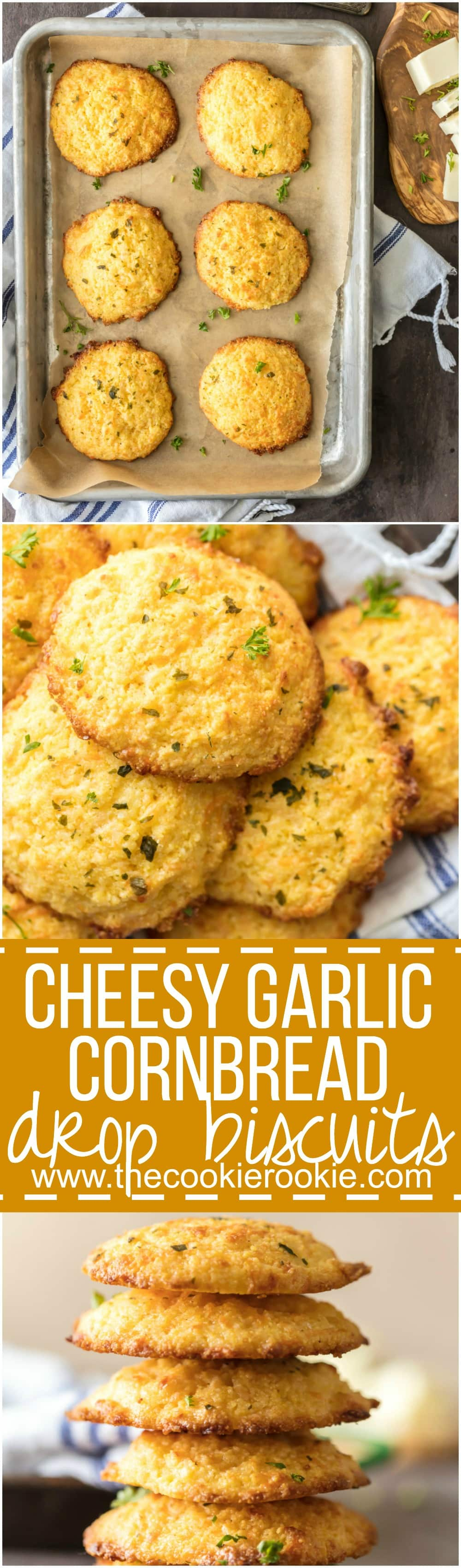 Cheesy Garlic Cornbread Drop Biscuits are EASY, delicious, and perfect for the holidays! These Cornbread Drop Biscuits always make an appearance on our Thanksgiving and Christmas tables!