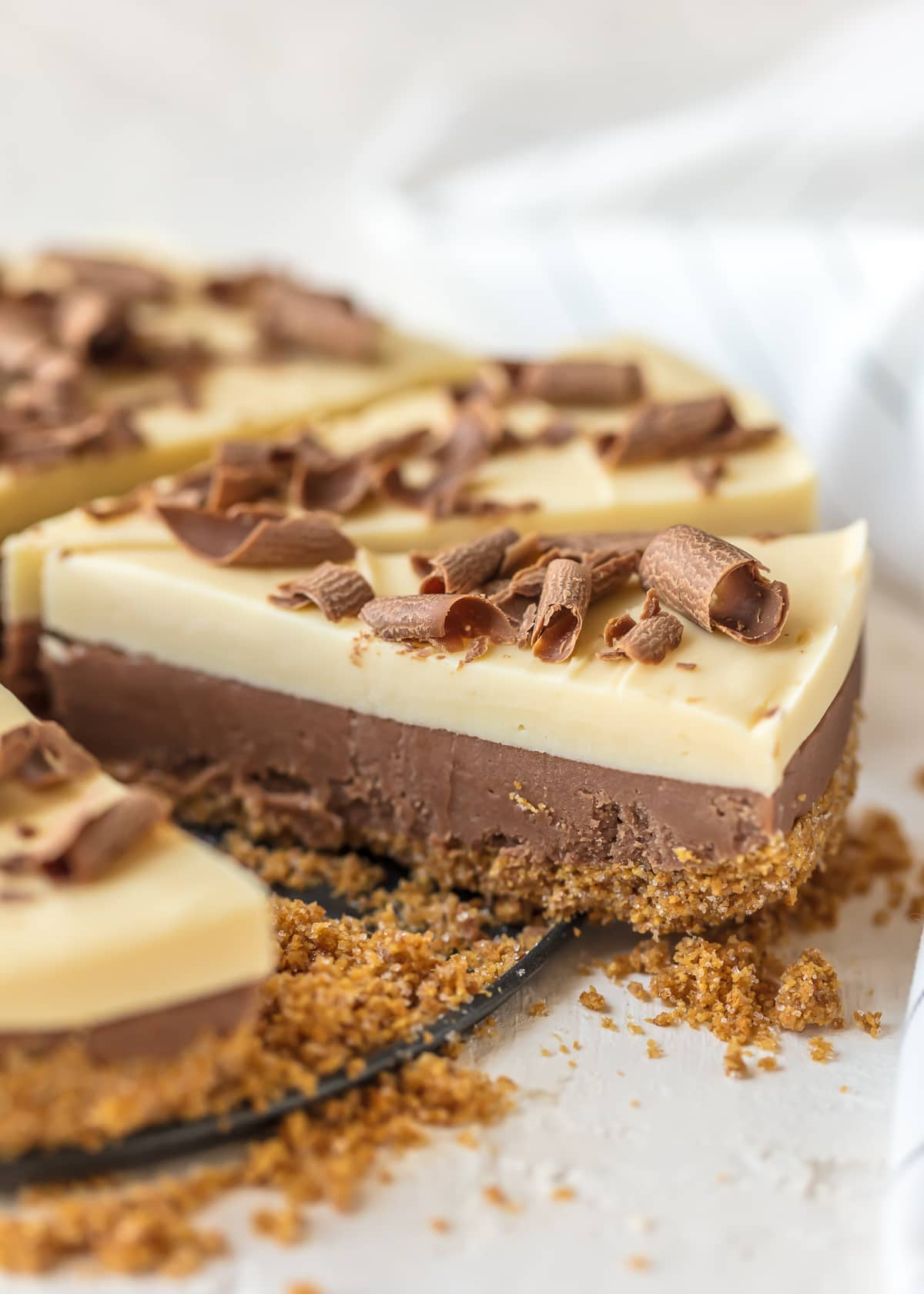 French Silk Pie Fudge topped with chocolate curls