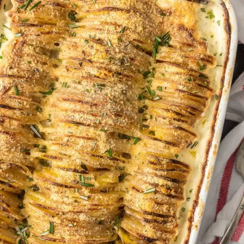 garlic herb scalloped potatoes in a dish