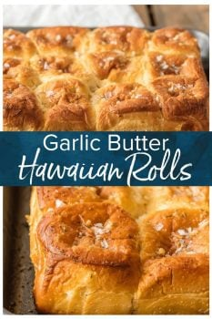 Hawaiian Rolls are just begging to be smothered in Homemade Garlic Butter! These EASY Garlic Butter Hawaiian Rolls are literally the best rolls I have EVER TASTED! This fun King's Hawaiian Rolls Recipe is made in just minutes and SO easy; the perfect bread side for Thanksgiving, Christmas, Easter, or any gathering!