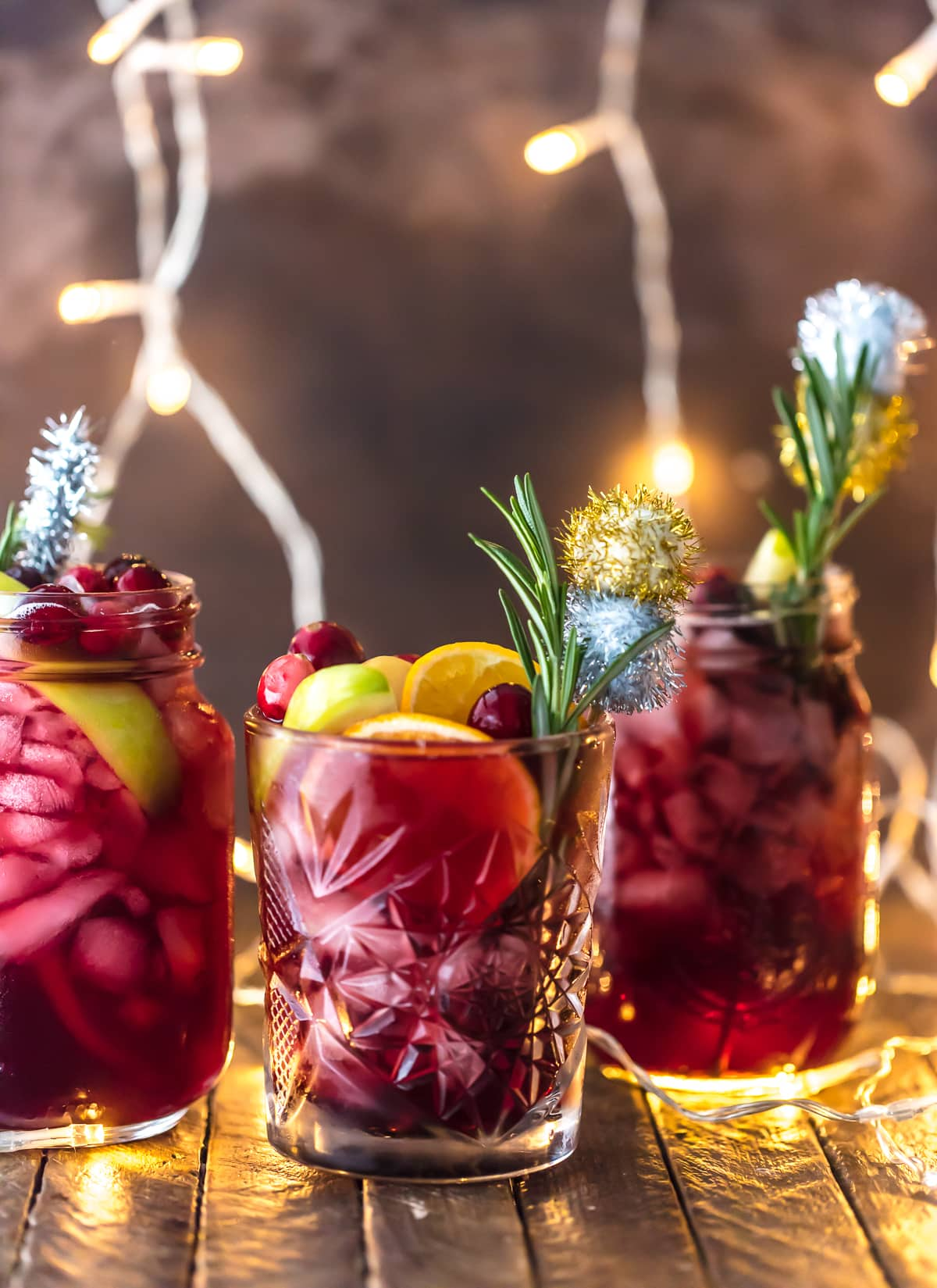 Christmas cocktail recipe in three glasses