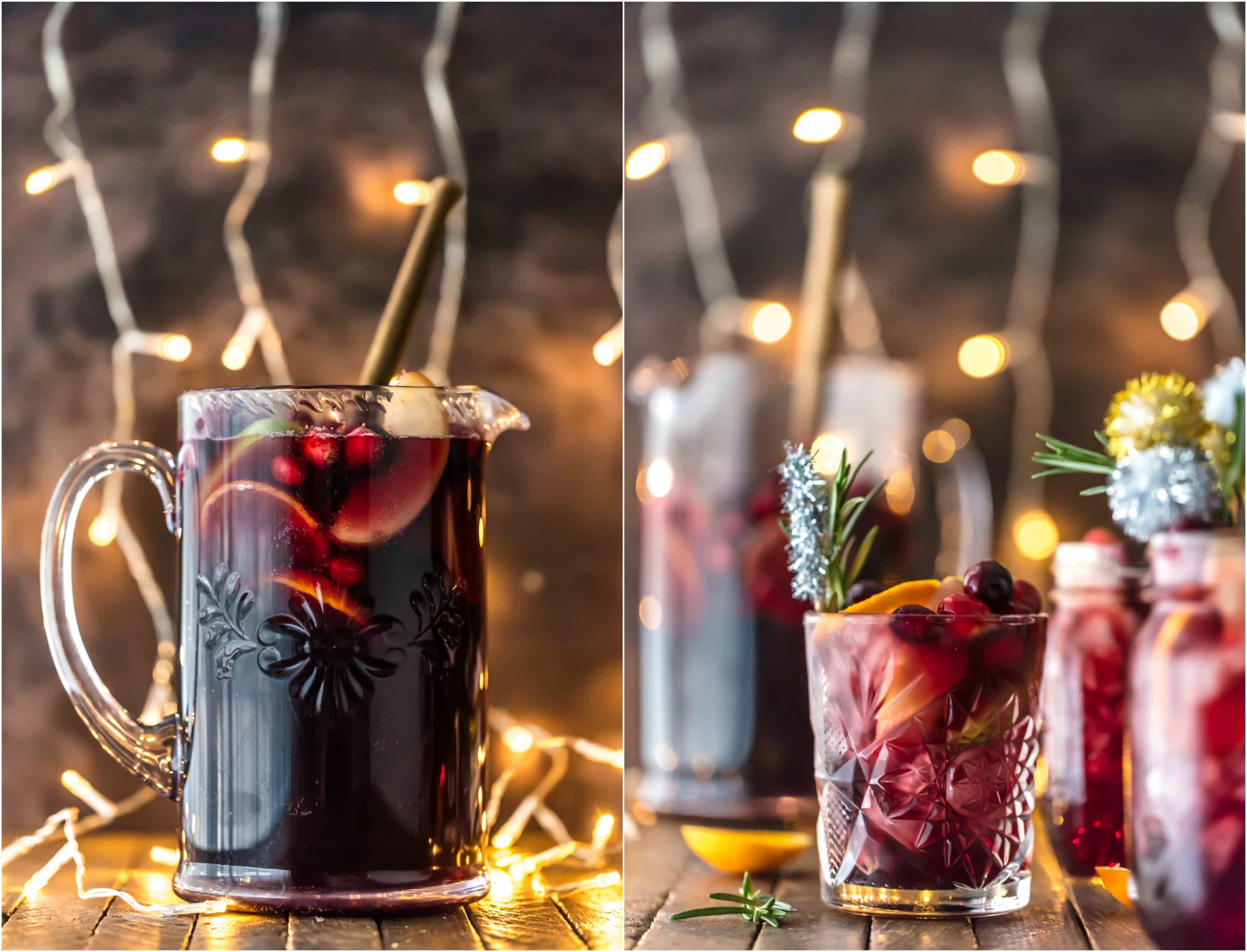 Pitcher of holiday sangria and glasses of sangria in front of string lights