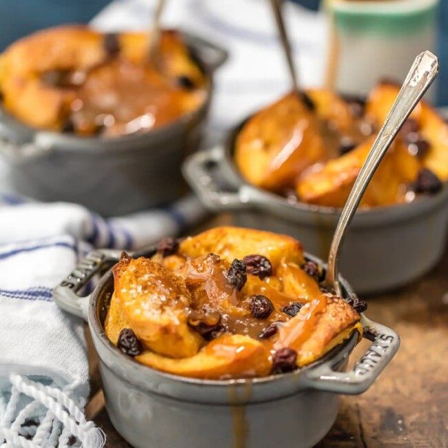 Irish Bread Pudding with Whiskey Caramel Sauce | The Cookie Rookie