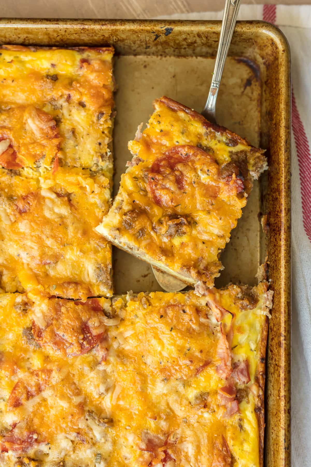 Meat Lovers Breakfast Pizza Recipe made in a sheet pan