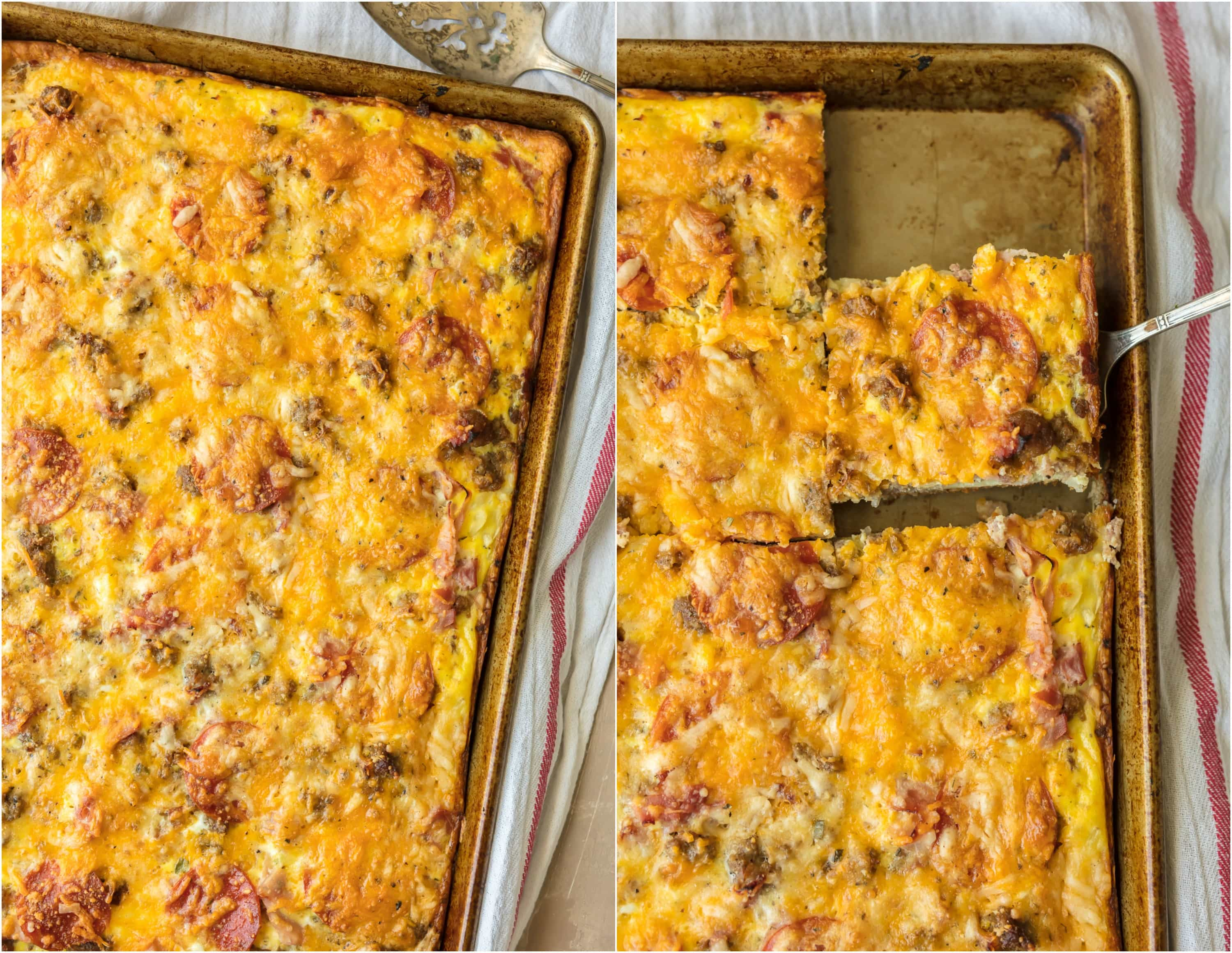 MEAT LOVERS BREAKFAST PIZZA is the perfect Christmas morning breakfast recipe! Loaded with pepperoni, bacon, sausage, hamburger, egg, hash browns, and cheese! BEST SHEET PAN BREAKFAST PIZZA EVER!