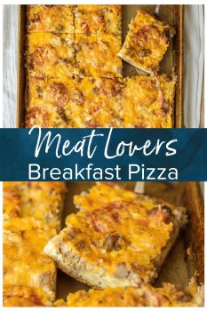 MEAT LOVERS PIZZA is one of the best, so why not bring that deliciousness to the breakfast table?! This meat lovers Breakfast Pizza is the perfect Christmas morning breakfast recipe! It's loaded with pepperoni, bacon, sausage, hamburger, egg, hash browns, and cheese! BEST SHEET PAN BREAKFAST PIZZA EVER!