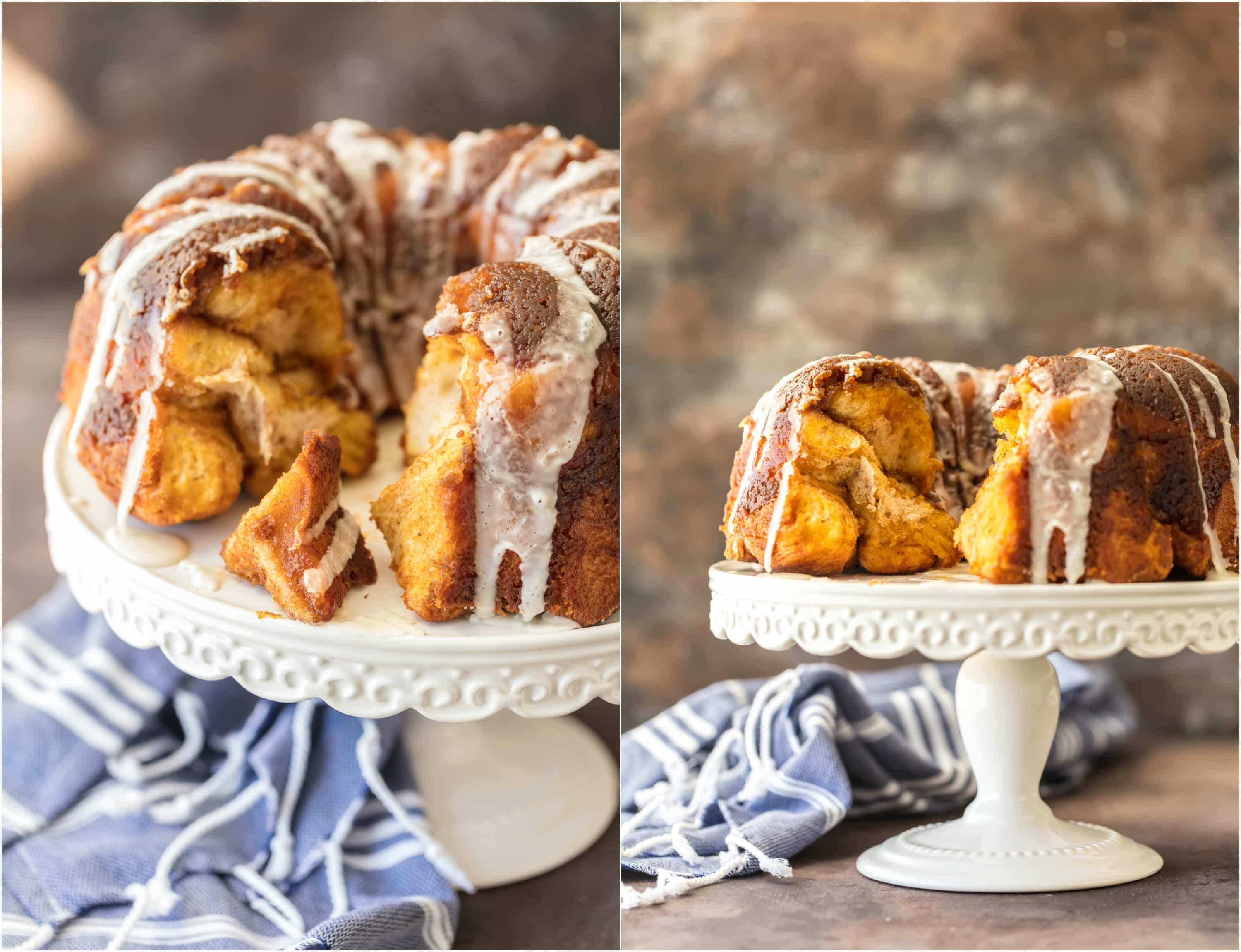 PUMPKIN PIE MONKEY BREAD is the ultimate Thanksgiving breakfast! This ooey gooey monkey bread tastes just like Pumpkin Pie and is pretty to boot! Add some icing glaze to take it over the top!