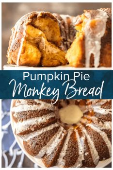 Monkey Bread is a fun and tasty treat perfect for breakfast or dessert! This Pumpkin Pie Monkey Bread Recipe tastes just like pumpkin pie, making it the ultimate Thanksgiving breakfast. I love this ooey gooey monkey bread made with biscuit dough. It's so easy and so delicious!