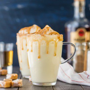 salted caramel eggnog in a glass mug