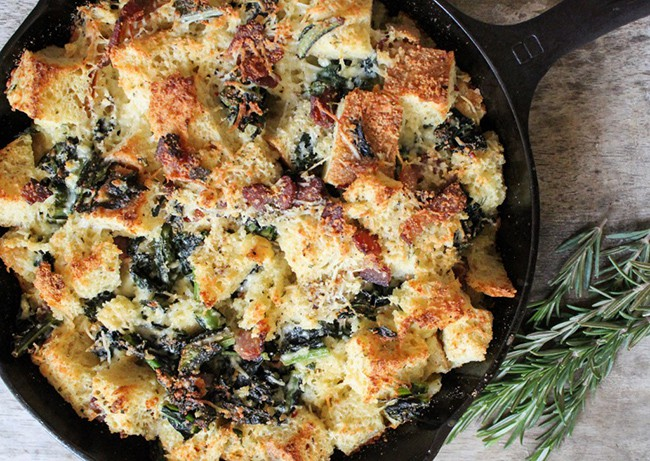 Savory Parmesan Bread Pudding with Bacon and Kale | The Little Epicurean
