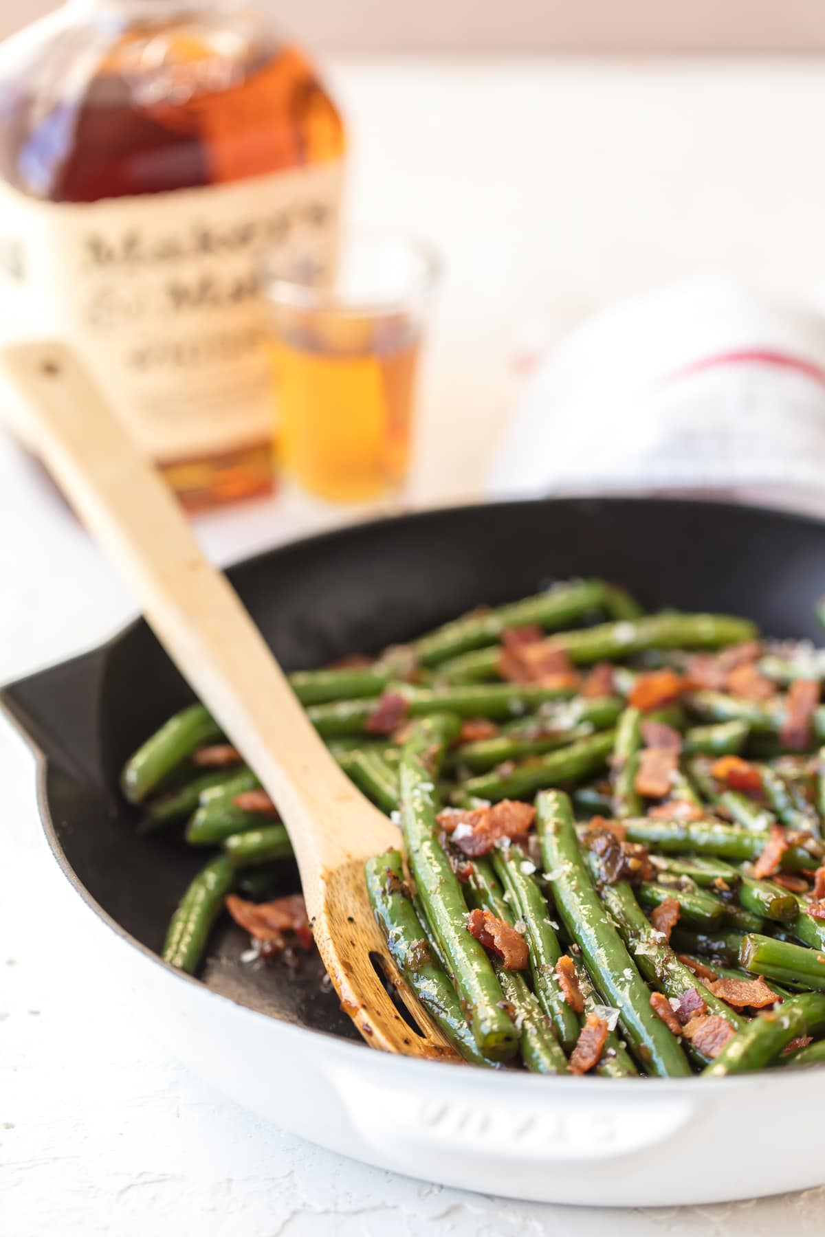 Bourbon Green Beans in a skillet