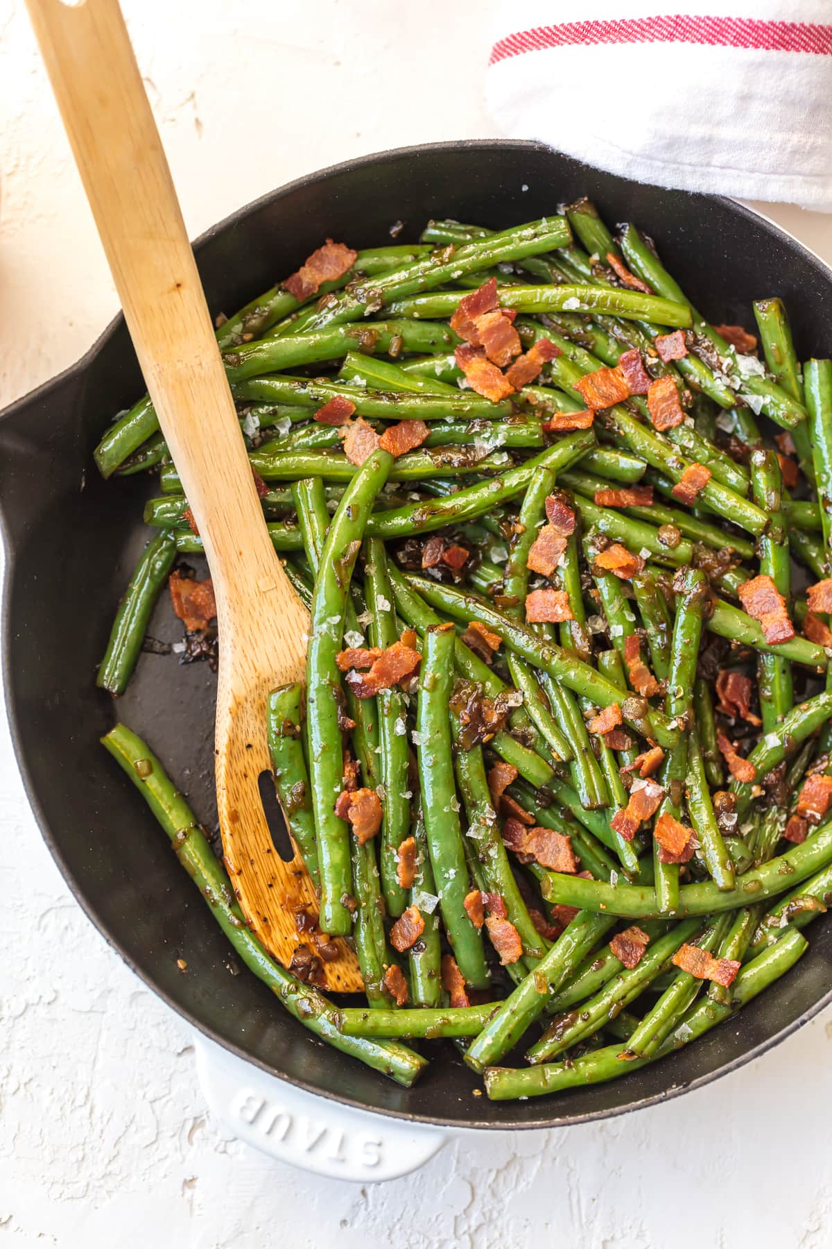 Bourbon Green Beans with Bacon made in a skillet