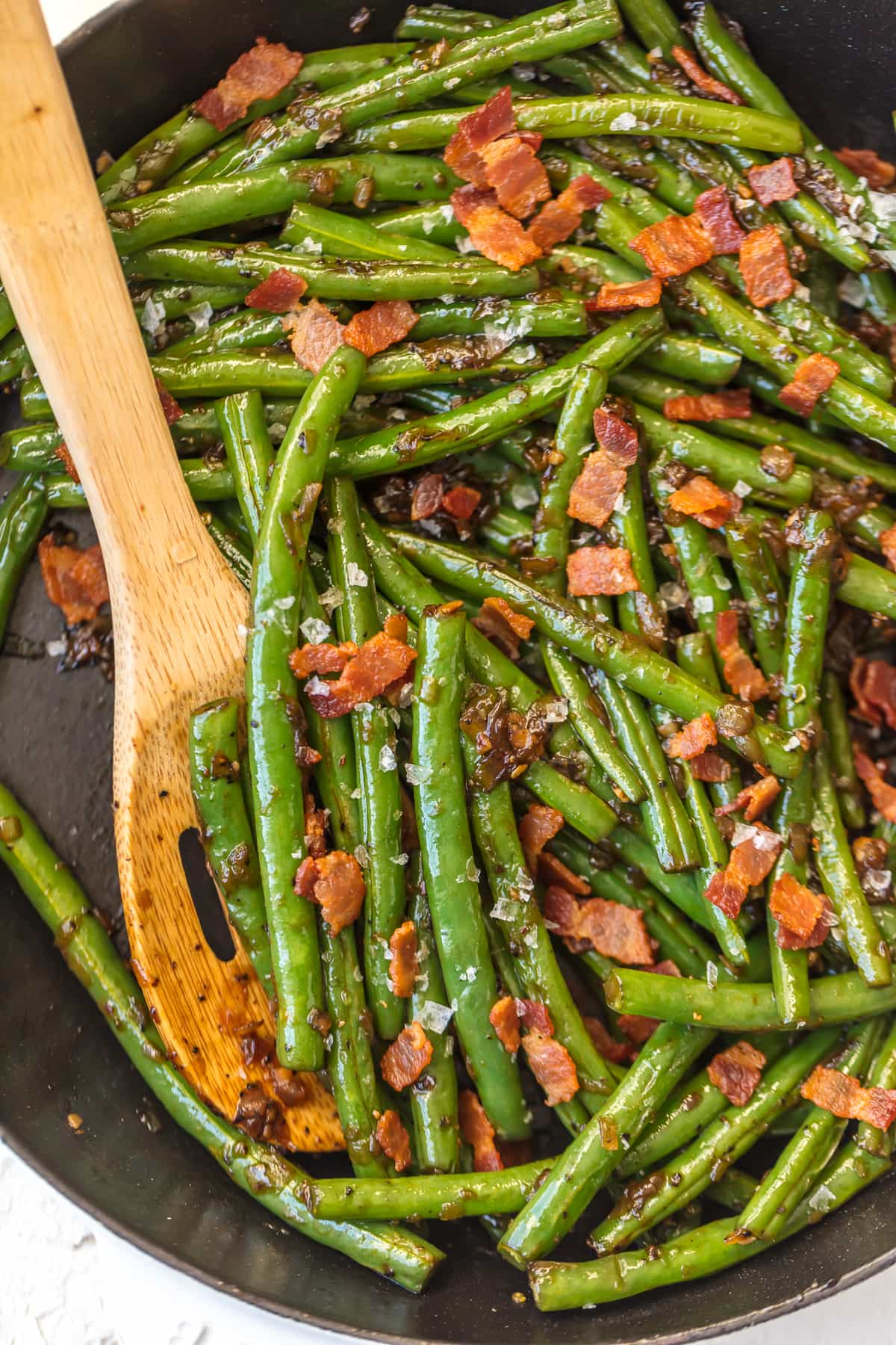 Skillet Green Beans recipe with bacon and bourbon