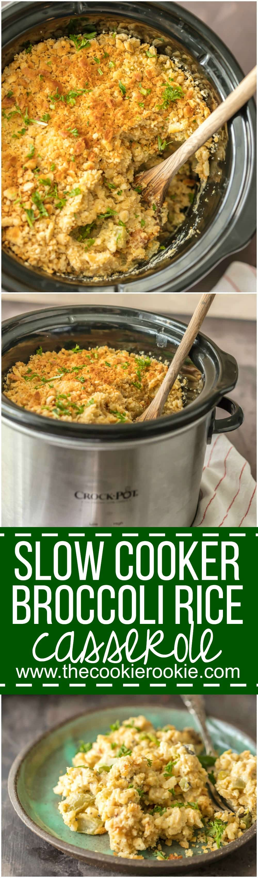 This Slow Cooker Broccoli Rice Casserole is our go-to holiday side dish. Such an easy way to make this Thanksgiving and Christmas favorite, right in your slow cooker!
