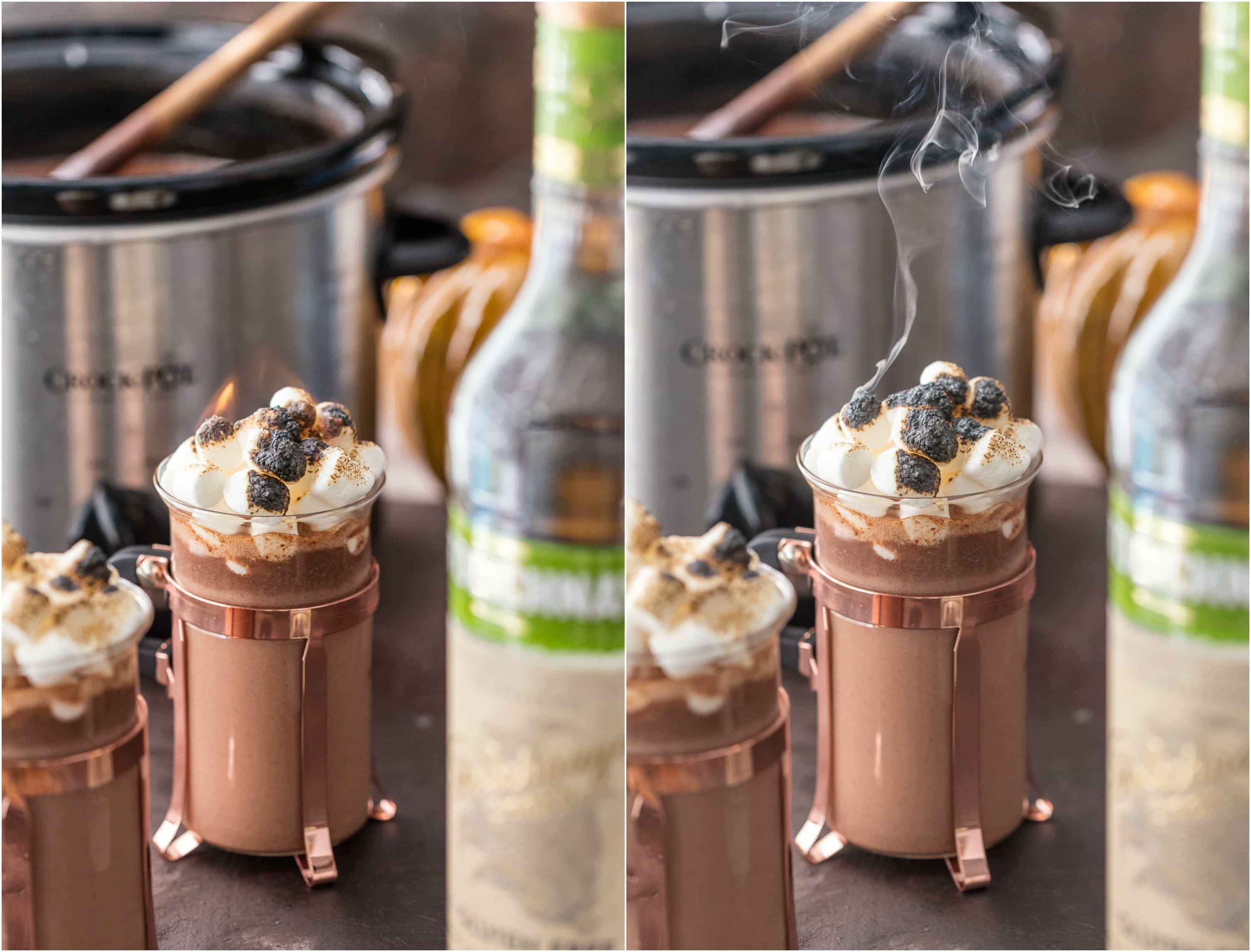 Spiked Hot Chocolate recipe next to a slow cooker and a bottle of vodka