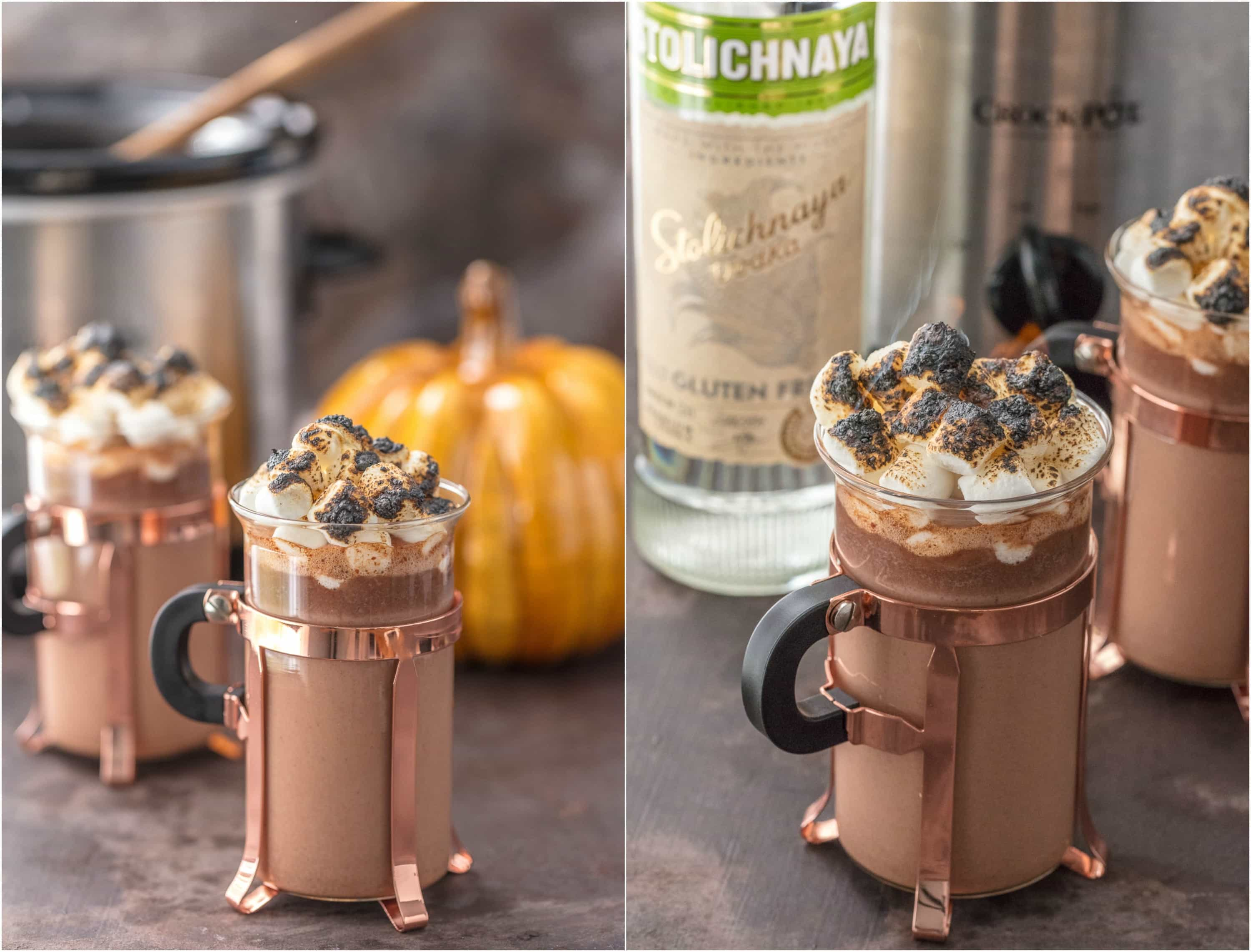 Making hot chocolate for a crowd - Made In A Spiked Slow Cooker Pumpkin Pie Hot Chocolate Is The Ultimate Thanksgiving Cocktail Made In A
