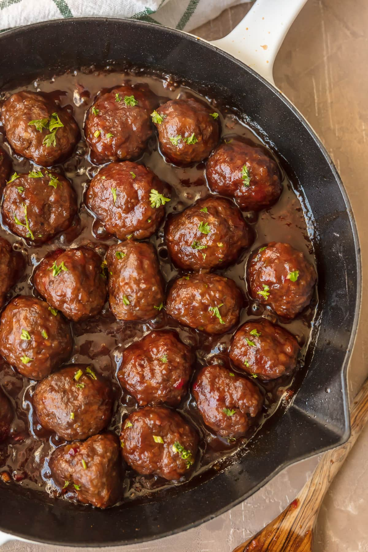 Cranberry cocktail meatball recipe in a skillet