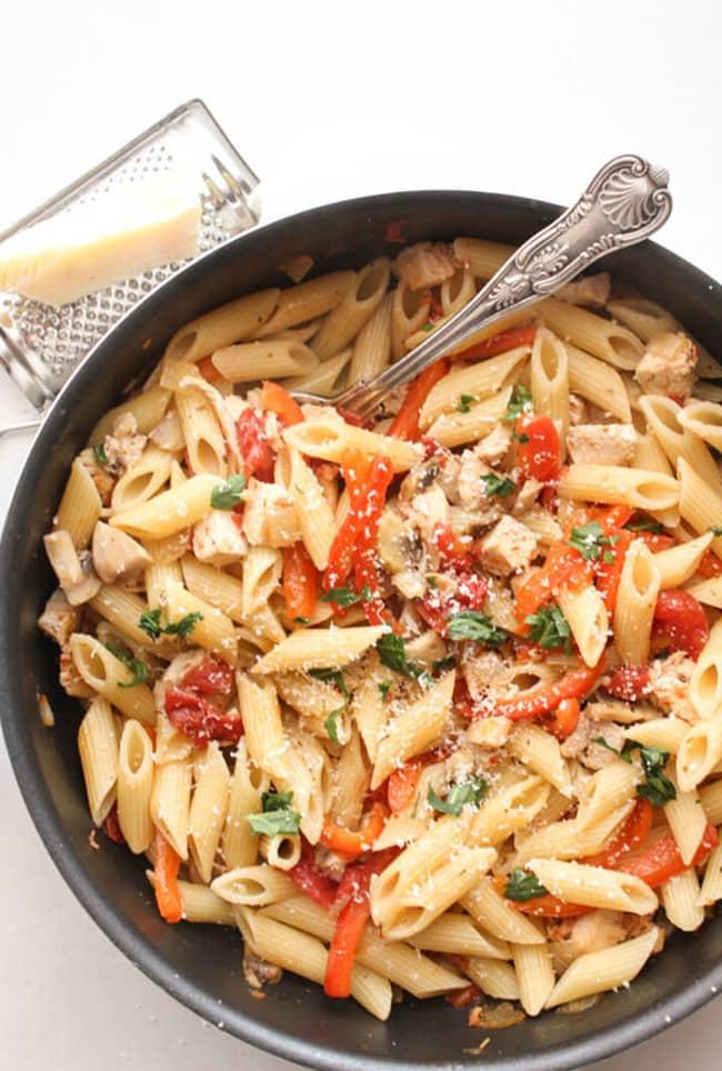 Leftover Turkey Skillet Pasta | An Italian in My Kitchen