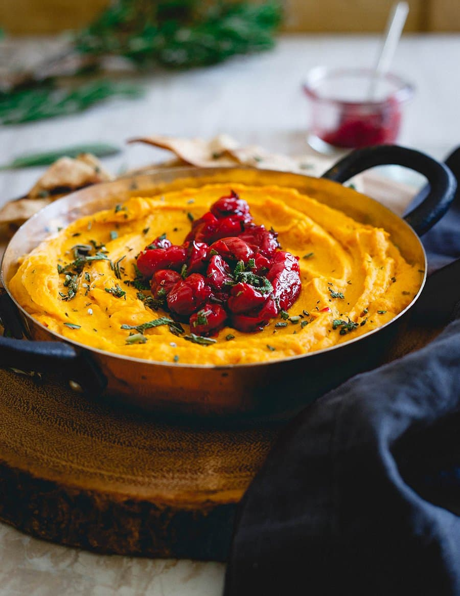 Butternut Squash Goat Cheese Dip with Tart Cherry Compote | Running to the Kitchen
