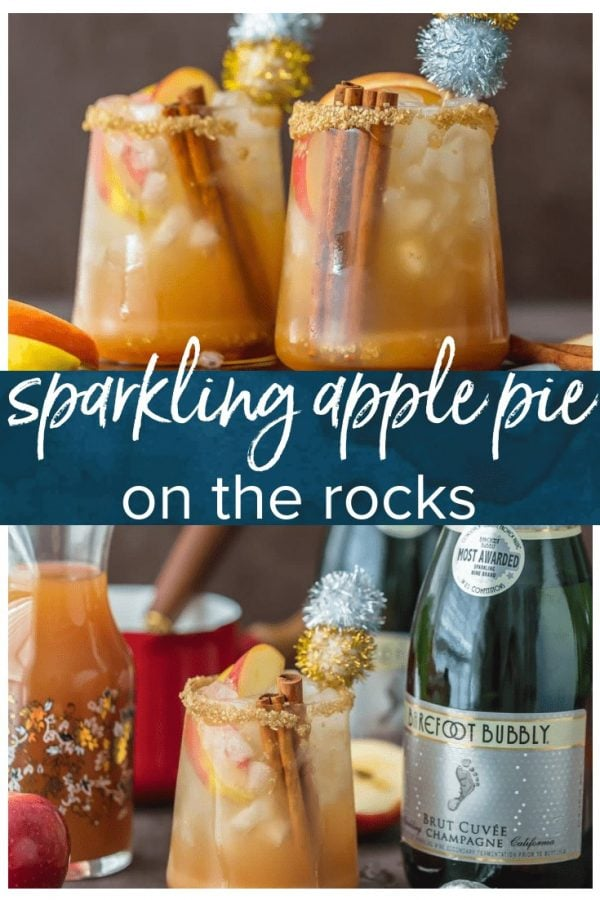SPARKLING APPLE PIE ON THE ROCKS is the perfect Fall cocktail! Cinnamon Apple Cider mixed with Caramel Apple Simple Syrup and topped with bubbly champagne. This apple cider cocktail is the best holiday drink ever!