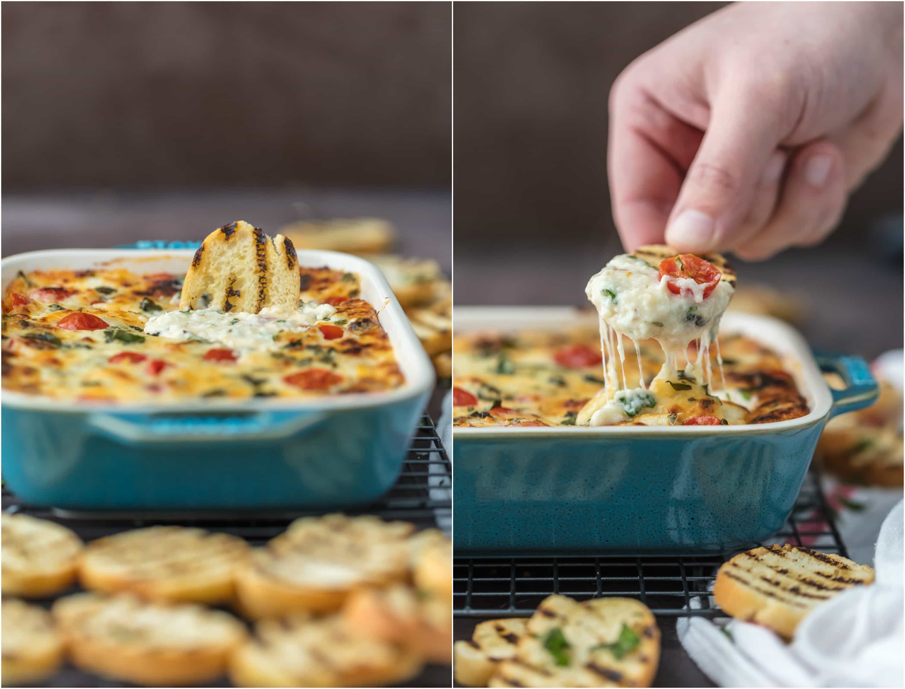 CHEESY CAPRESE DIP is the ultimate EASY party dip for any occasion! Perfect for any celebration, tailgating, and especially the Super Bowl! Best cheese dip recipe ever!