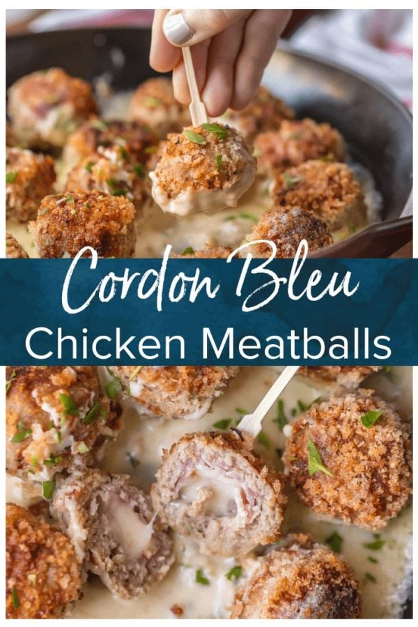 CHICKEN CORDON BLEU MEATBALLS are the most amazing holiday appetizer ever! Chicken meatballs stuffed with swiss and ham, and cooked in a white wine dijon sauce. I could eat these Cordon Bleu Chicken Meatballs for every meal!