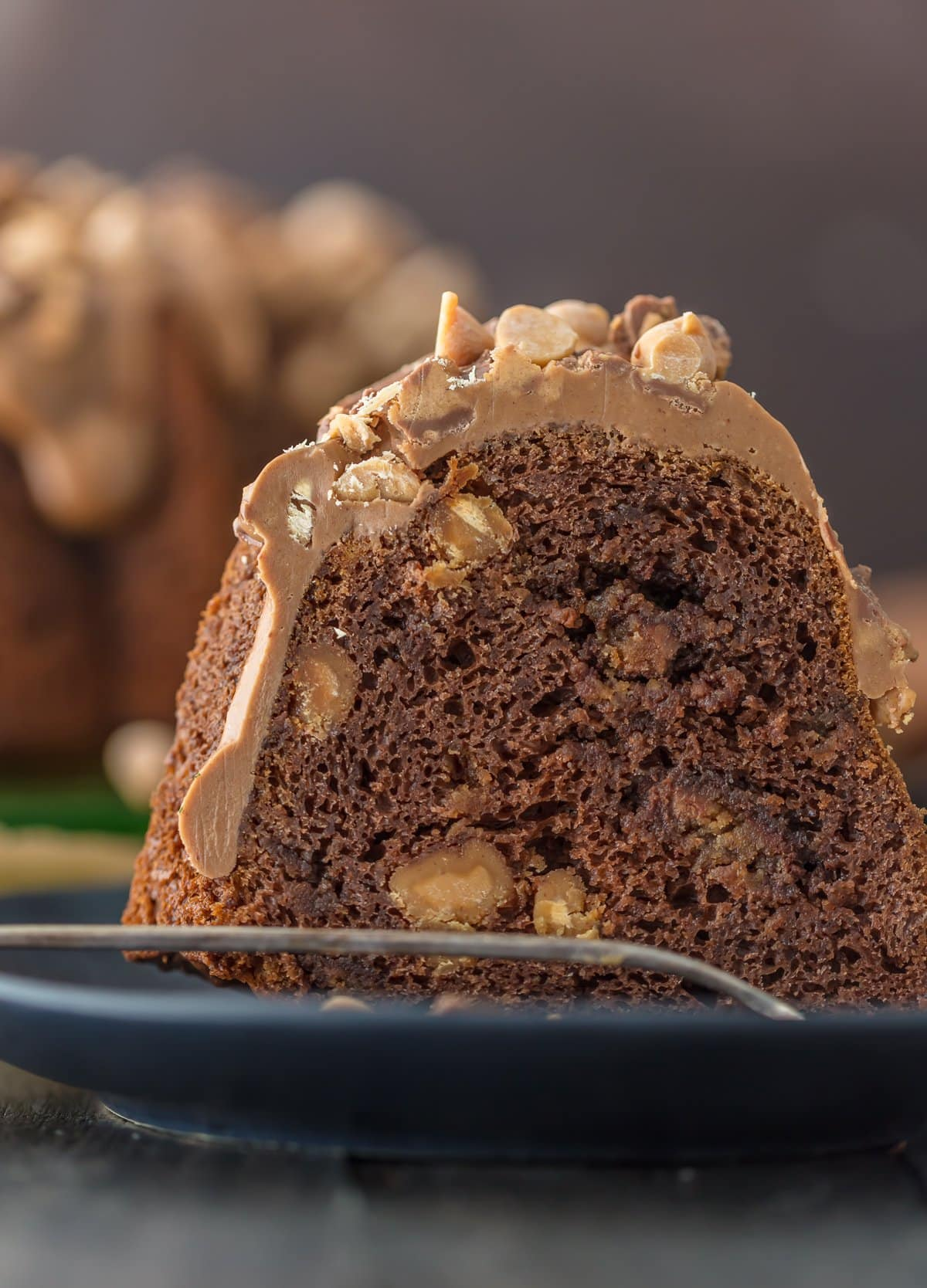 Close up of a slice of chocolate peanut butter cup bundt cake