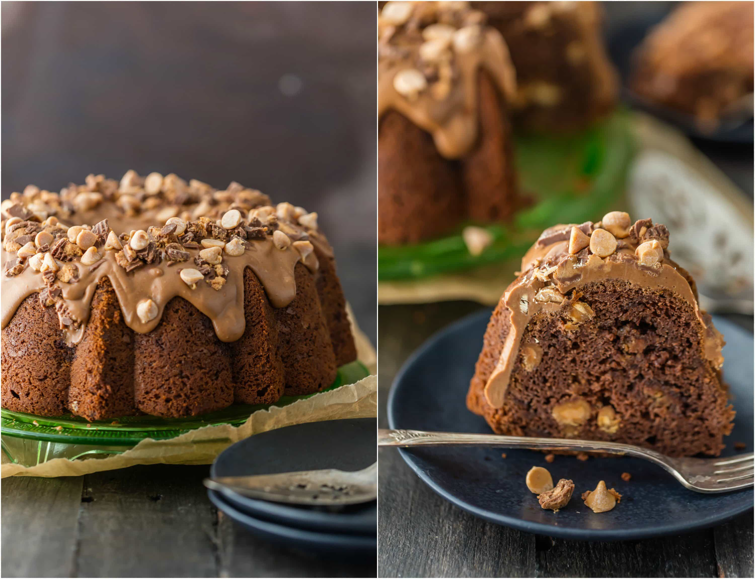 CHOCOLATE PEANUT BUTTER POUND CAKE is the ultimate bundt cake recipe! Topped with a decadent peanut butter icing, this indulgent cake is perfect for the holidays!