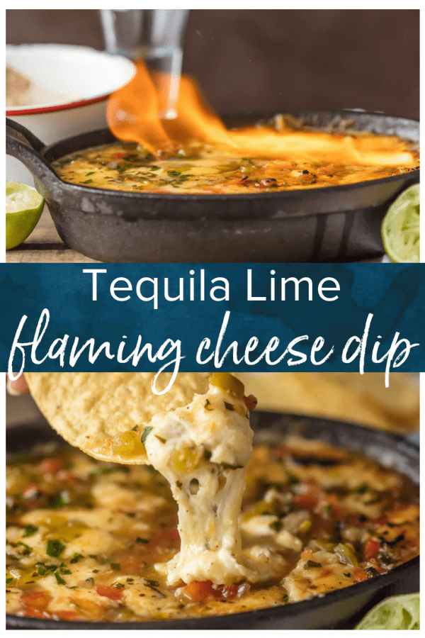 TEQUILA LIME FLAMING CHEESE DIP is the most fun way to eat cheese dip! This delicious queso is loaded with pico and green chiles, topped with a chili lime reduction, and then doused in tequila and lit on fire. It's the ultimate New Year's Eve or Super Bowl appetizer!