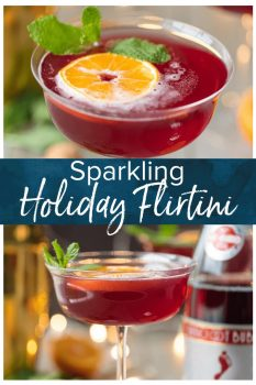 Flirtinis are a fun drink perfect for festive occasions. This Sparkling Holiday Flirtini is so fun, so pretty, and so delicious! It's made from cranberry and pineapple juice mixed with orange vodka, and topped off with red Moscato champagne. It's the perfect holiday cocktail recipe for Christmas or New Year's Eve!
