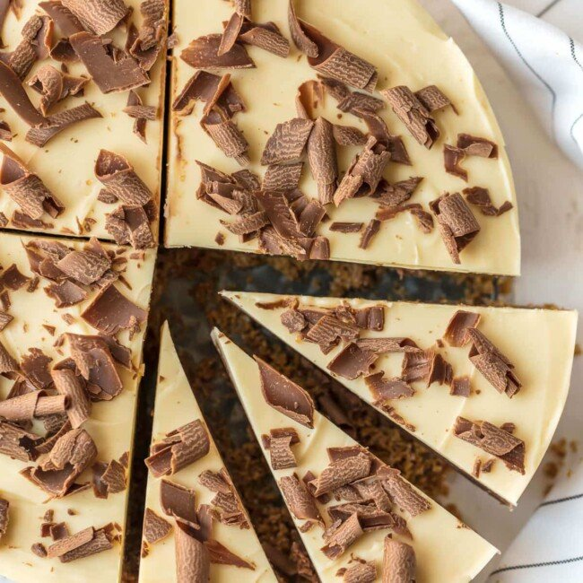 a top view of sliced french silk pie fudge