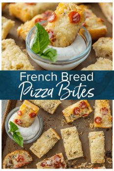FRENCH BREAD PIZZA BITES are the easiest and tastiest cheesy appetizer! These mini french bread pizzas are loaded with garlic butter, cheese, and all of your favorite toppings. They make a great appetizer (the perfect party food), but we may just eat them as an entire meal!