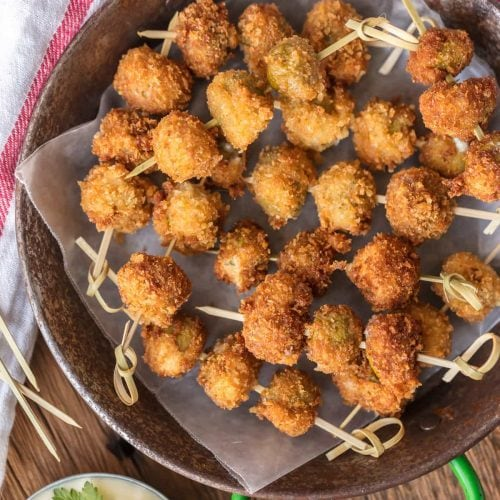fried blue cheese stuffed olives on a plate
