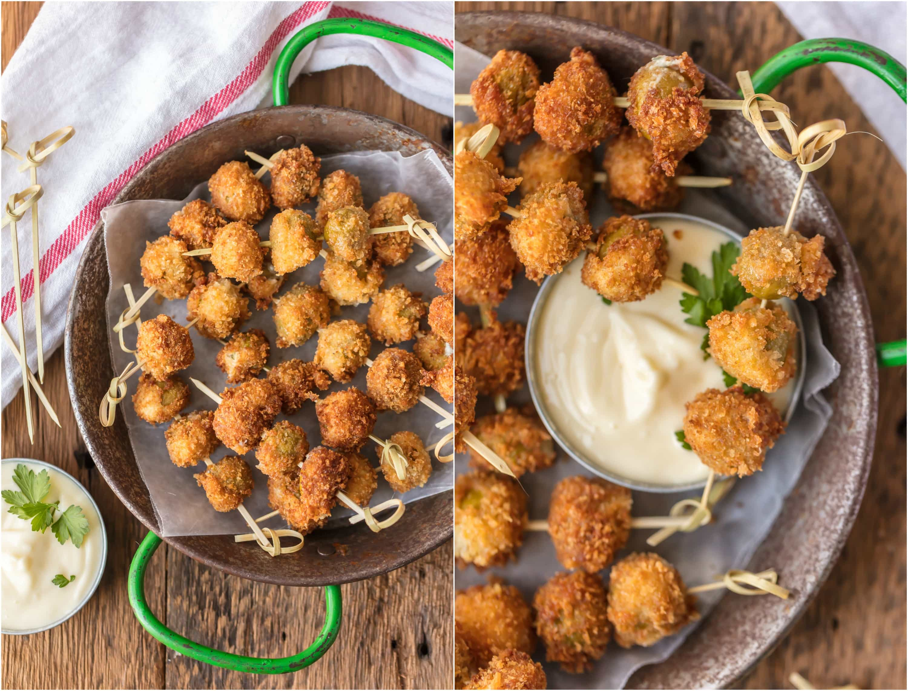 These FRIED BLUE CHEESE STUFFED OLIVES with a simple garlic aioli are absolutely addicting! Such a simple and perfect holiday appetizer, just what you need for Christmas or New Years Eve!