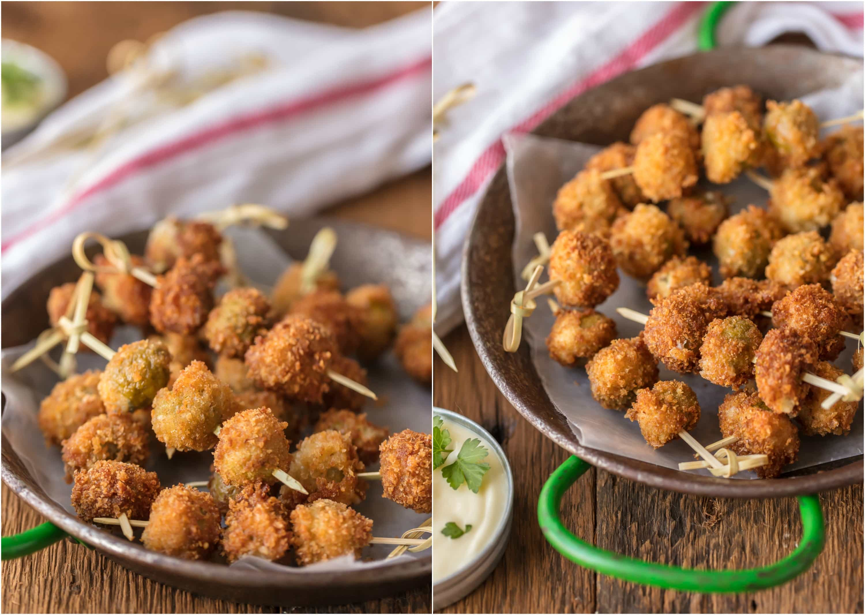 Fried Blue Cheese Stuffed Olives - The Cookie Rookie