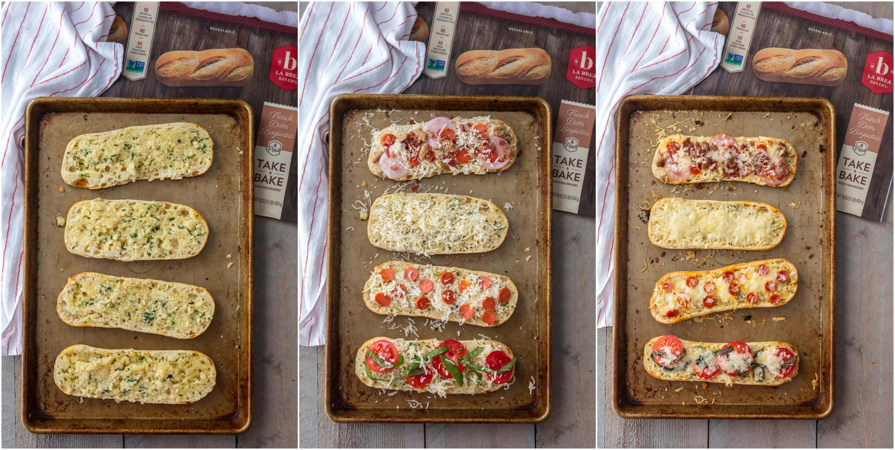 These GARLIC BUTTER FRENCH BREAD PIZZA BITES are the easiest and tastiest cheesy appetizer! Loaded with garlic butter, cheese, and all your favorite toppings! I say these are an appetizer, but we may just eat them as an entire meal!