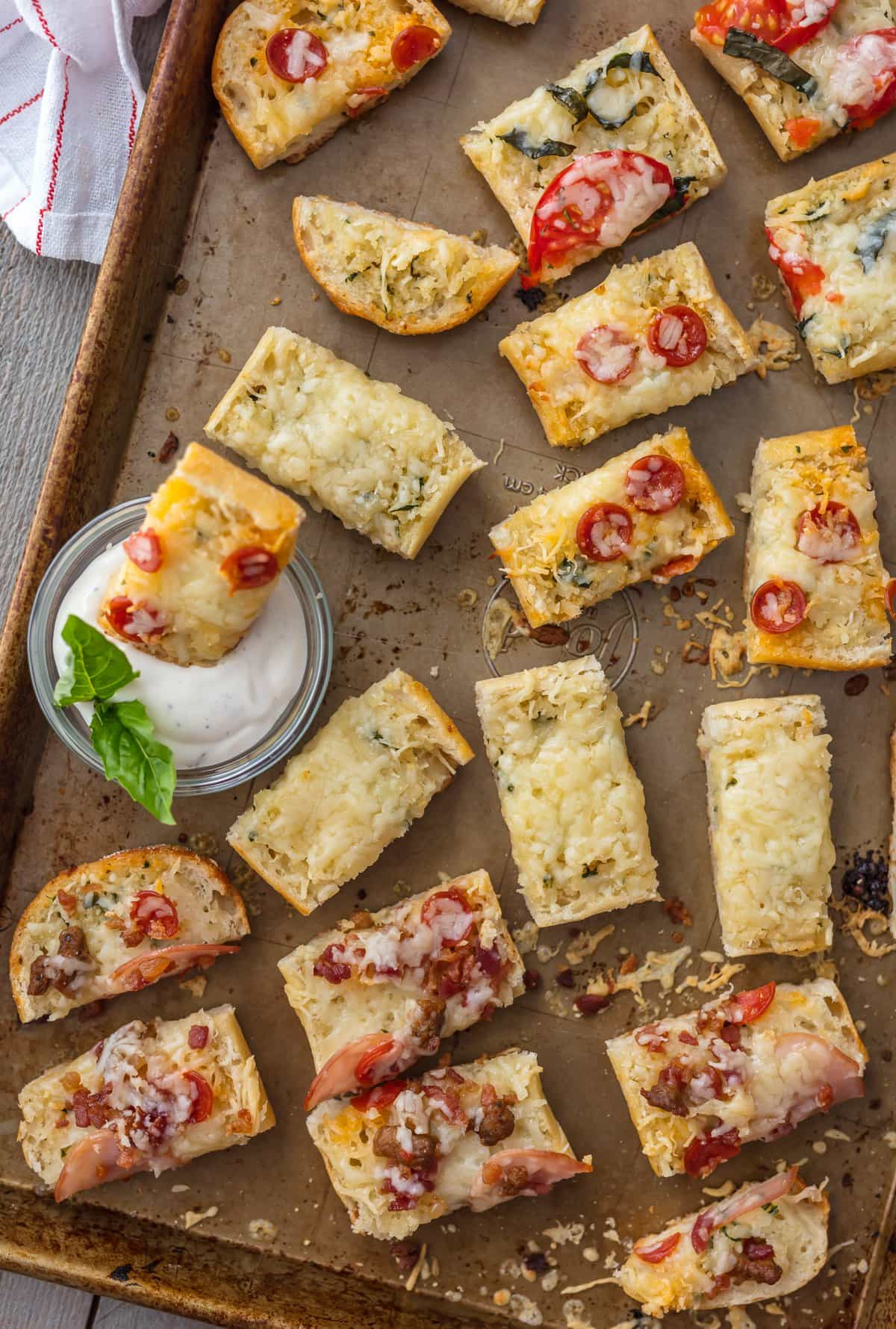 Garlic Bread Pizza Bites on a baking sheet