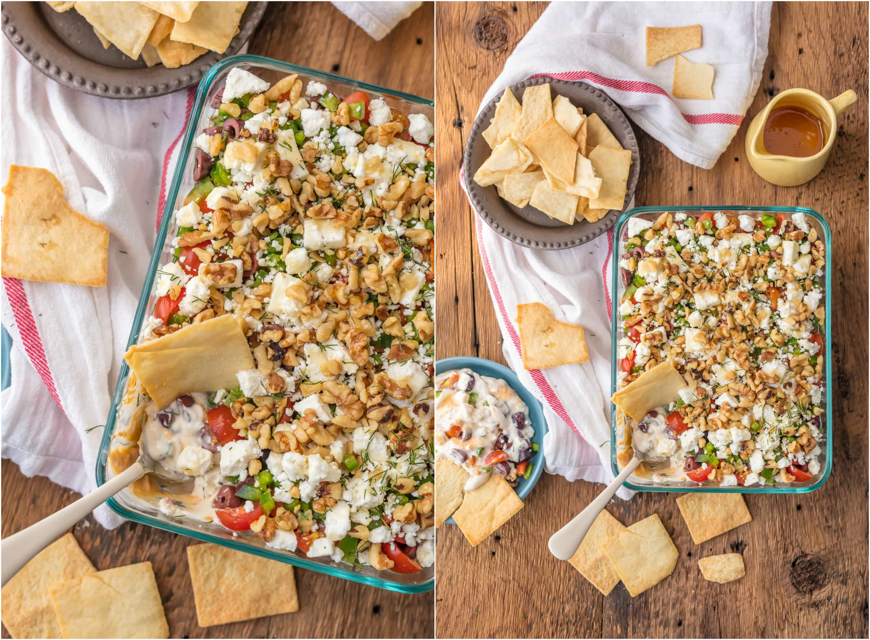 GREEK 7 LAYER DIP is a fun twist on a classic appetizer. This delicious dip is the perfect sharable app for Christmas, NYE, or any reason for tailgating. Layers of hummus, greek yogurt, feta, and so much more make it SO addicting!