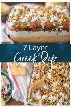 7 Layer GREEK DIP is a fun twist on a classic appetizer. This delicious 7 layer dip recipe is the perfect shareable appetizer for Christmas, New Year's Eve, or for tailgating. Seven delicious layers of hummus, greek yogurt, feta, and all of the best Mediterranean inspired ingredients make it a seriously addicting dip!