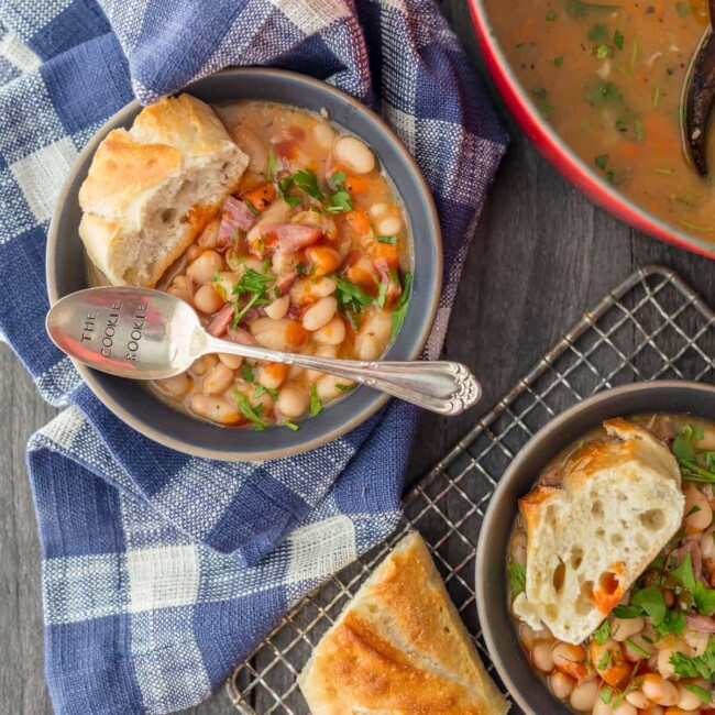 ham and bean soup in a bowl