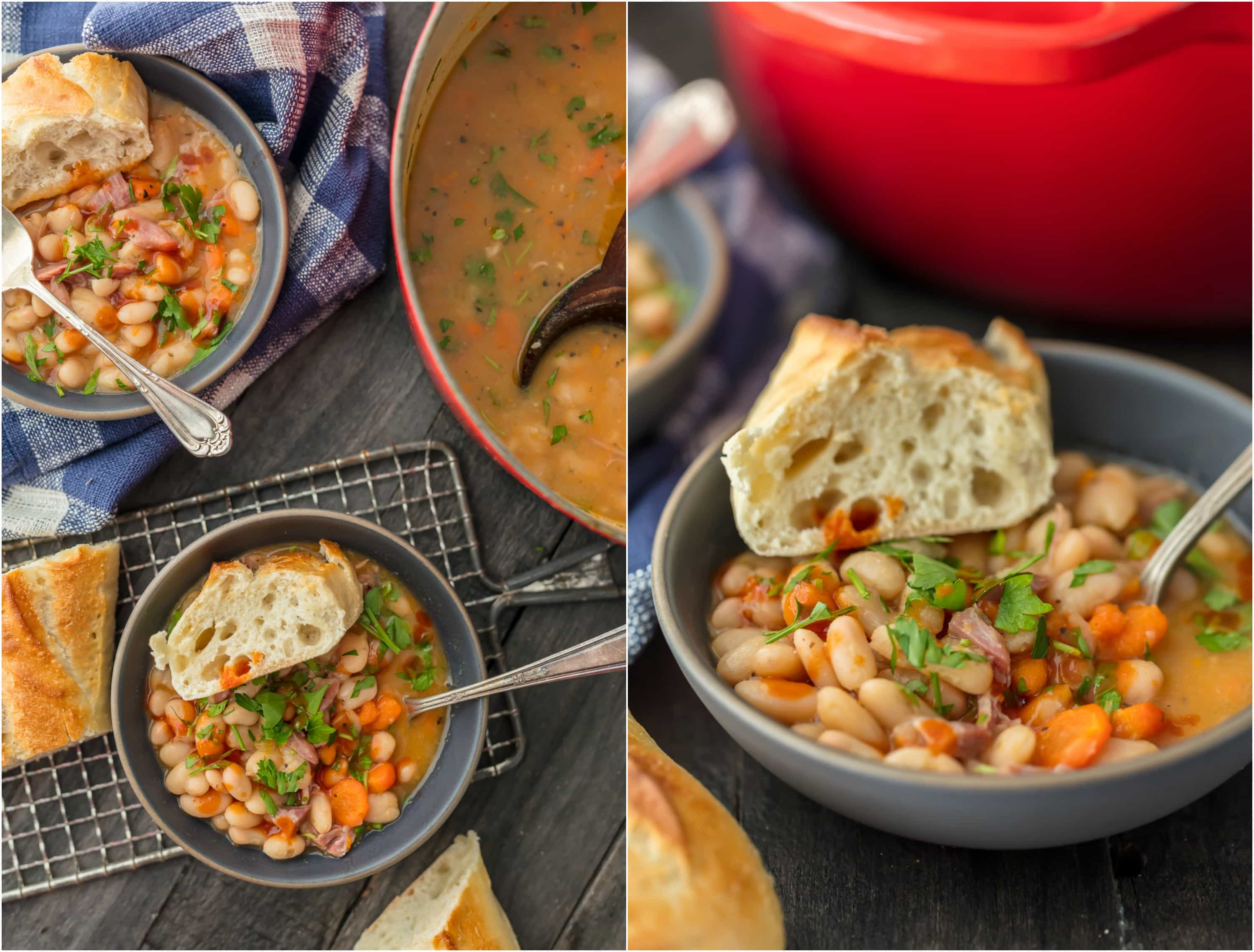 No better comfort food than EASY HAM AND BEAN SOUP! Love this hearty soup when the weather turns cool. Easy to make and something the entire family will love!