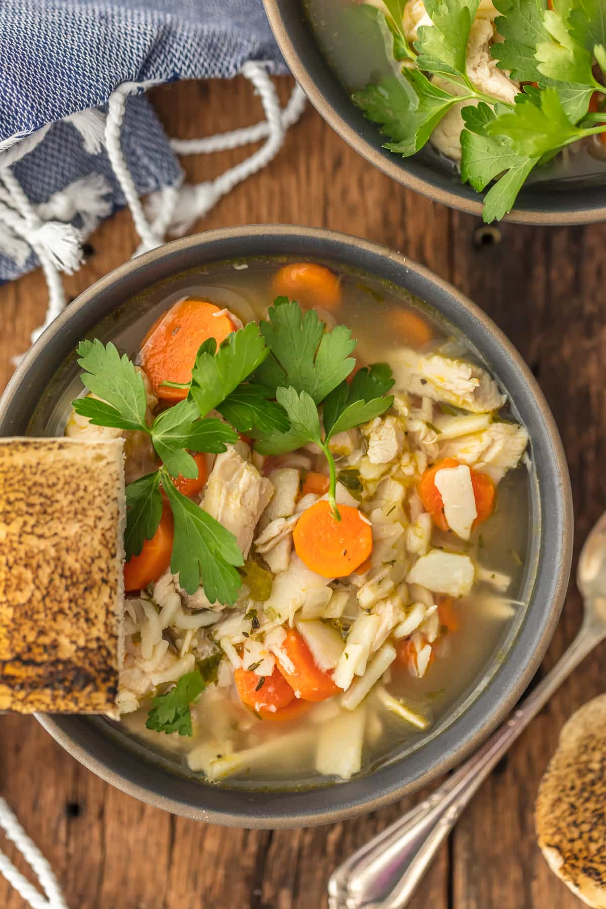 A bowl of chicken noodle soup with carrots, parsley, and more