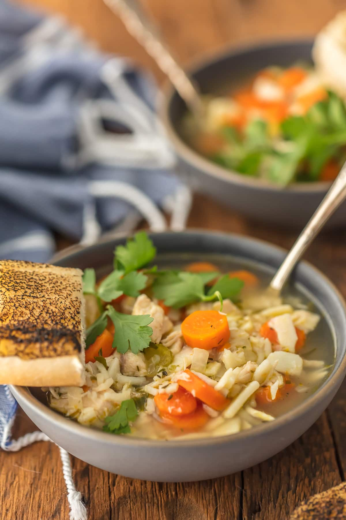 Easy chicken noodle soup with carrots, noodles, chicken, celery, and more