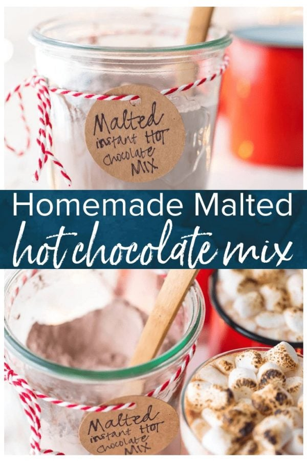 Hot Chocolate Mix is so easy to make at home, you'll never buy premade mix again! This Malted Hot Chocolate Mix Recipe is the perfect homemade Christmas gift, and it's so easy to use. The added malt flavor in this homemade hot chocolate mix takes it over the top and makes it one of my favorite versions of hot cocoa!