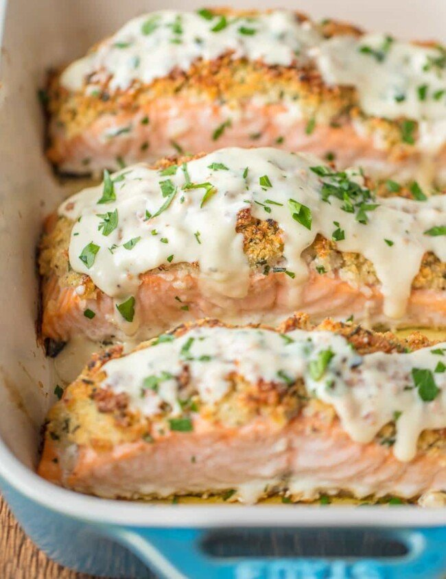 parmesan crusted white wine dijon salmon in a baking dish
