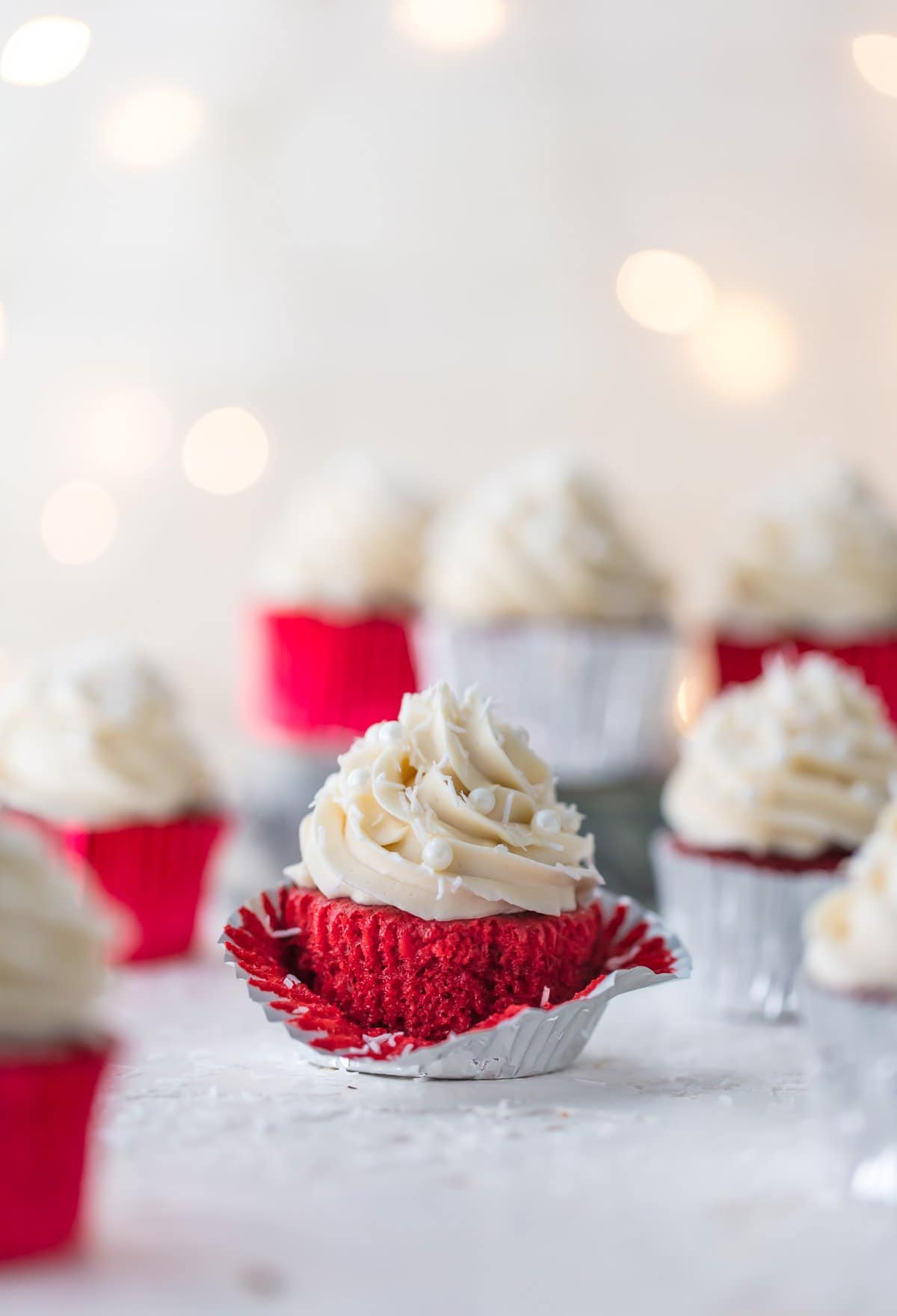 Red velvet cupcakes in silver cupcake liners